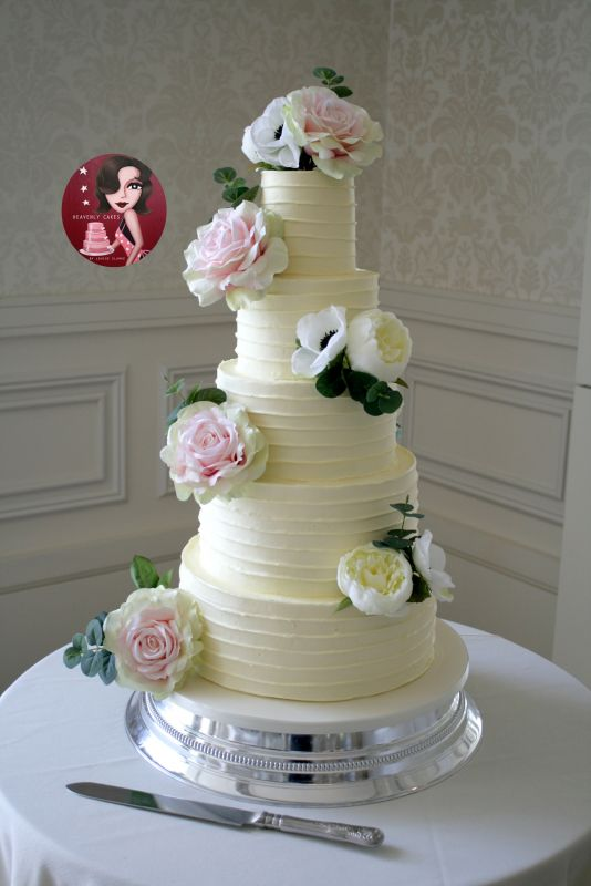 5 Tier Buttercreamed Wedding Cake