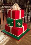 Wedding Cake Christmas Parcel Red Green