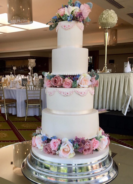 Silk Flower Wedding Cake