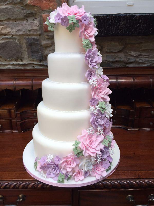 Cascading Sugar Flower Cakes