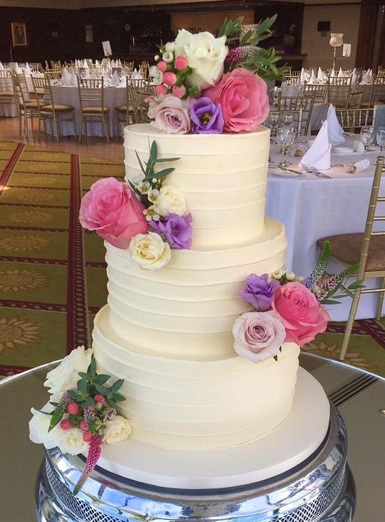 Buttercreamed Pink Wedding Cake
